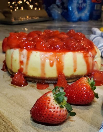 Instant Pot Cheesecake with Strawberry Sauce