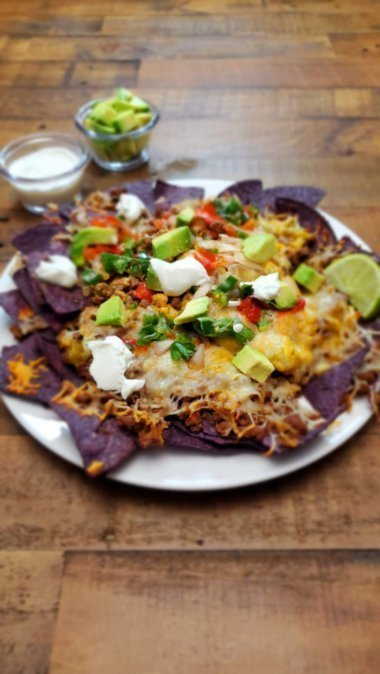 Ground Beef Nachos on a Plate