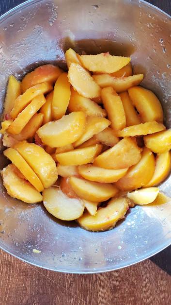 Fresh Peaches Being Prepared
