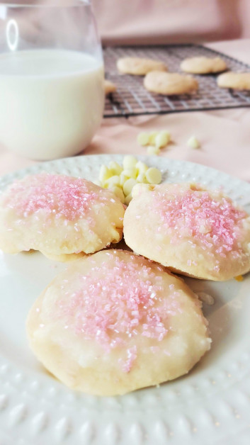 Serving Pink Cookies with Strawberries