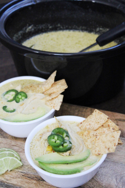 Green Enchilada Chicken Soup made in Slow Cooker