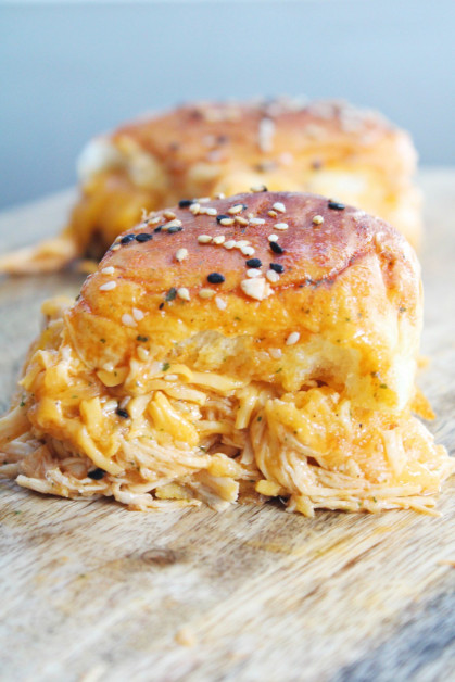 Serving the Buffalo Chicken Sliders with Cheese