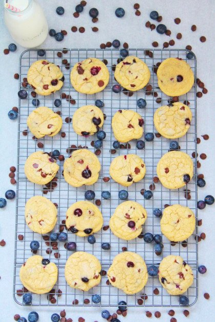 Baked Homemade Cookies with Fresh Blueberries and Chocolate Chips