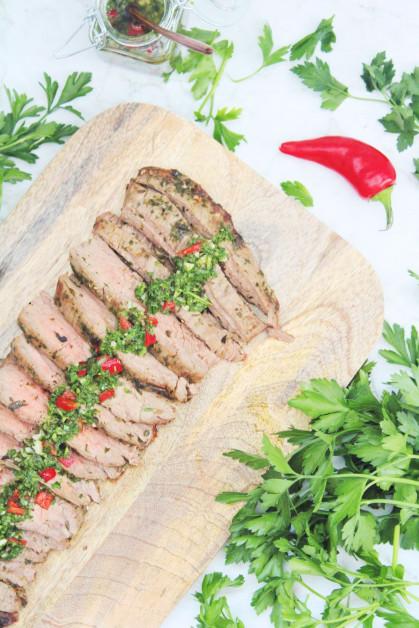 Air Fryer Flank Steak with Chimichurri