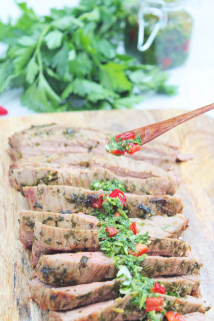 Cooking Flank Steak in the Air Fryer and Topping with Chimichurri
