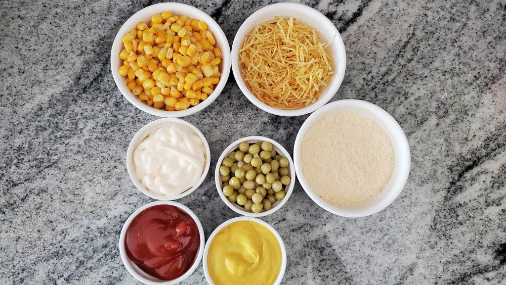These are all of the toppings used for this traditional Brazilian hot dog recipe.