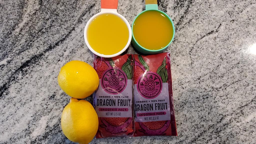 Ingredients for the dragonfruit drink recipe