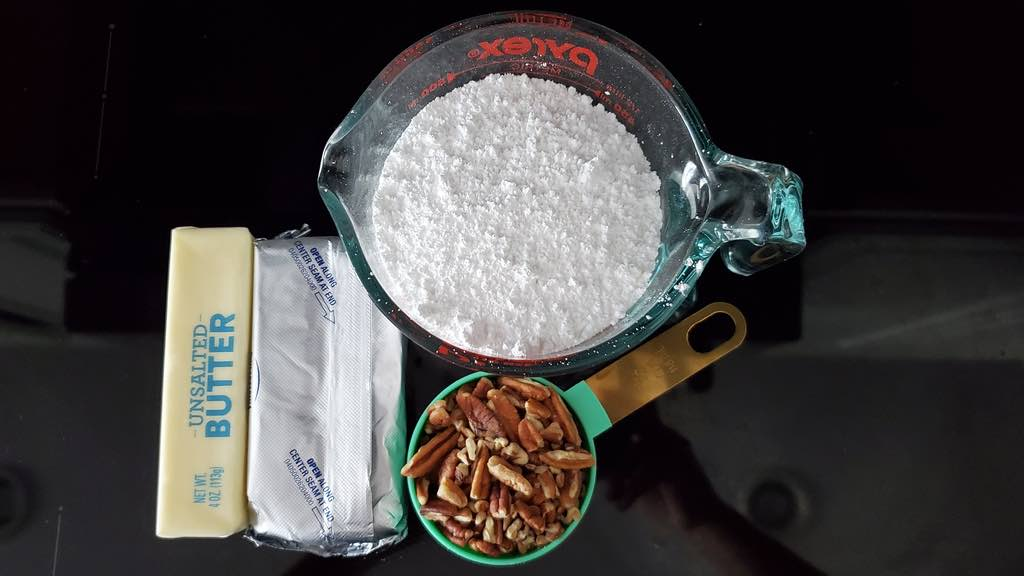 Ingredients for the pecan cream cheese frosting
