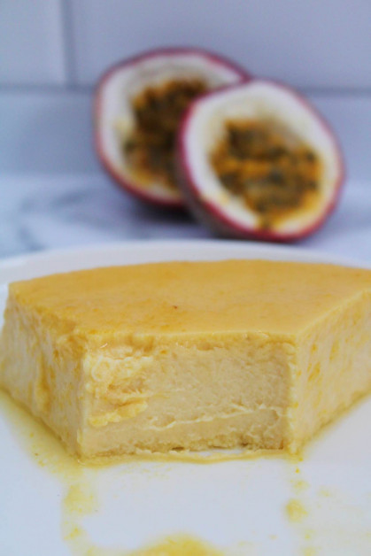 This easy flan is packed with passion fruit flavor and is made right in the blender.