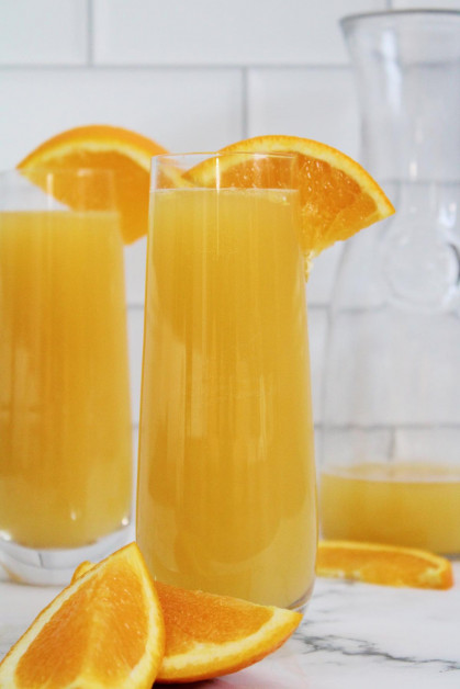 Easy beermosas are made with 2 ingredients.