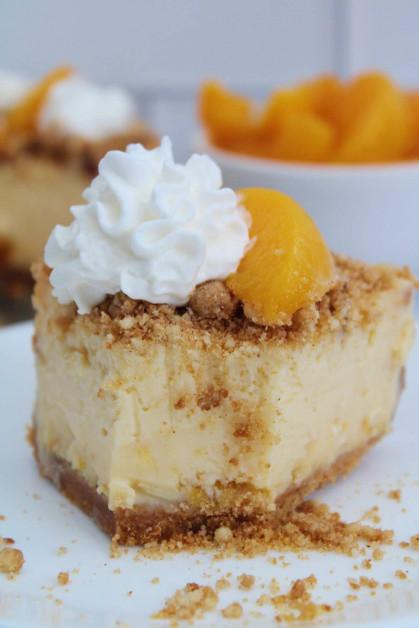 A slice of the best homemade peach dessert.