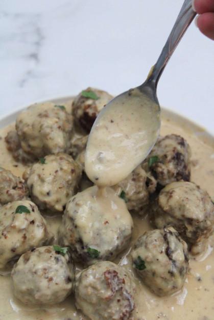 Swedish meatballs recipe with homemade gravy sauce.