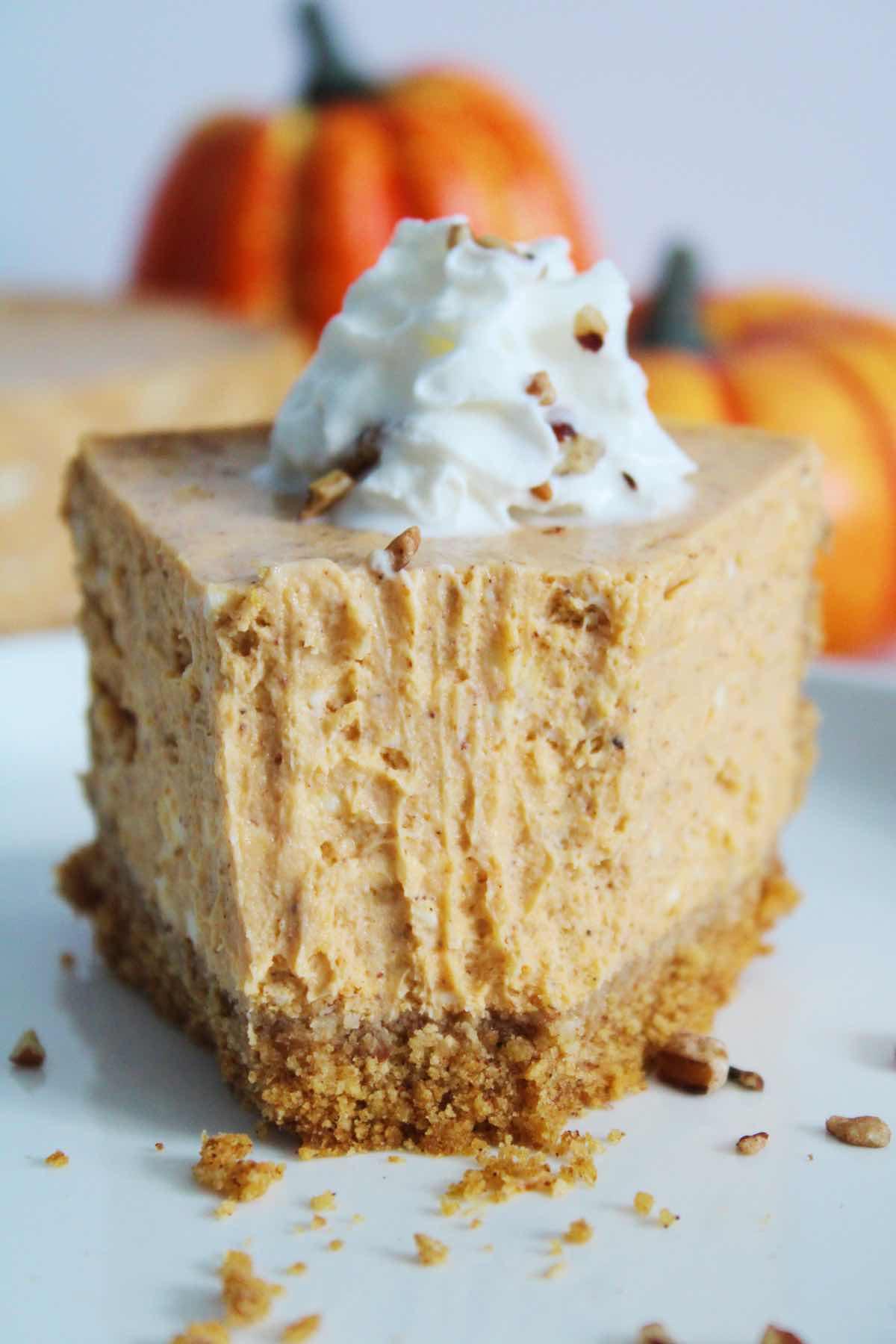 Creamy pumpkin cheesecake made from scratch.