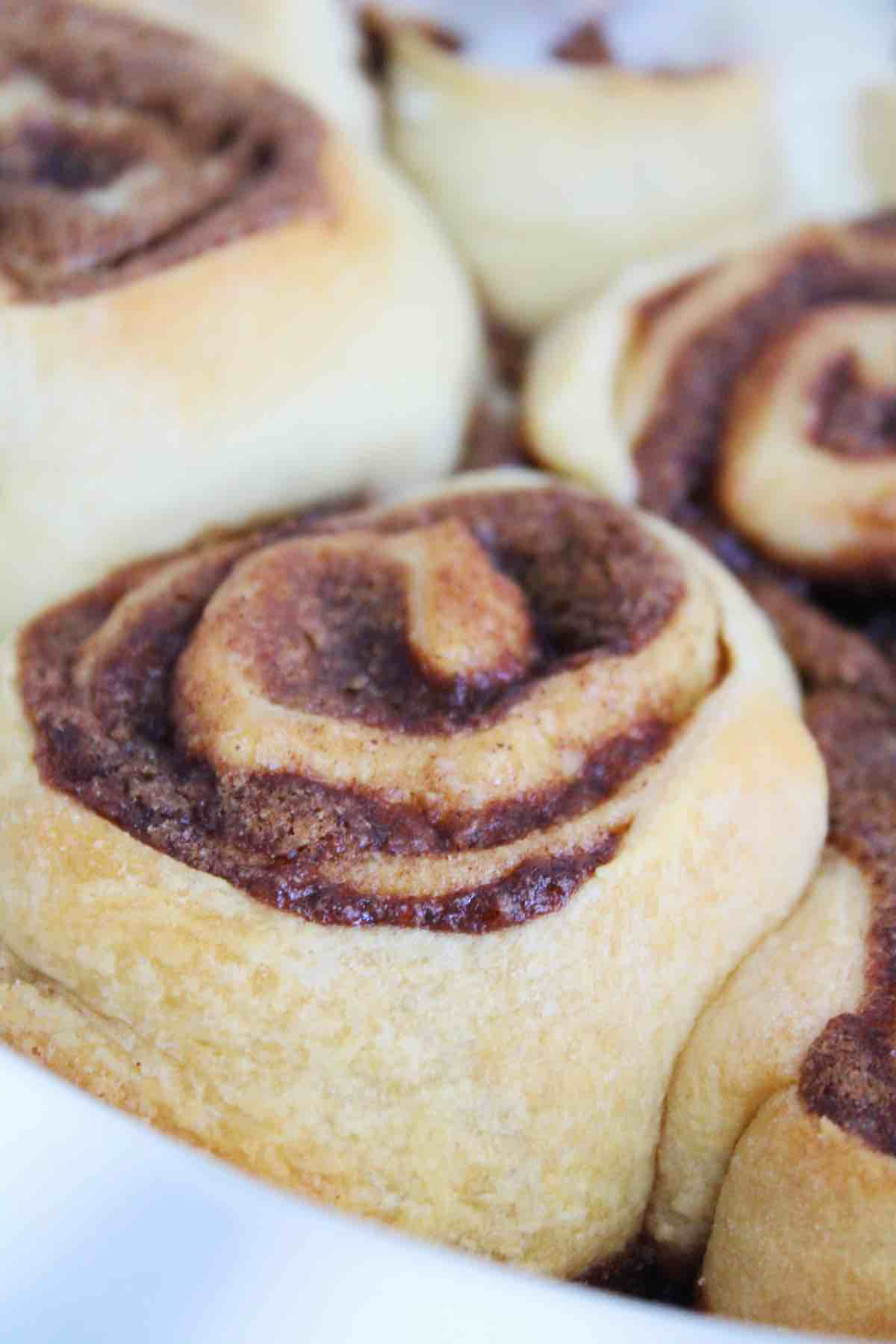 This is what the cookie butter cinnamon rolls will look like once they are finished baking.