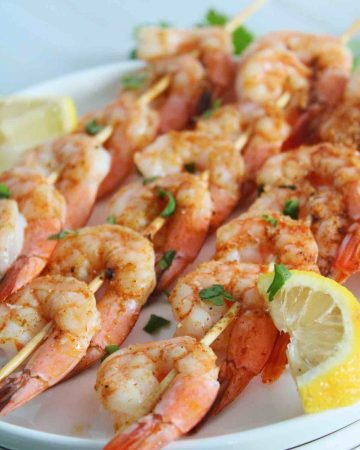 grilled shrimp skewers on the barbie