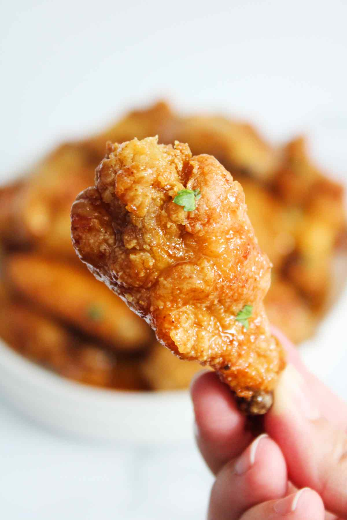 Homemade chicken wings tossed in a honey garlic sauce.