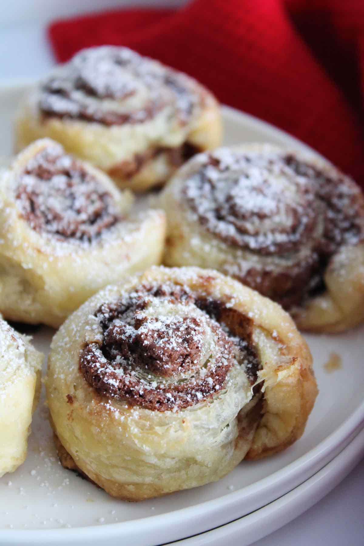 These nutella puff pastry pinwheels are easy to make and so delicious.