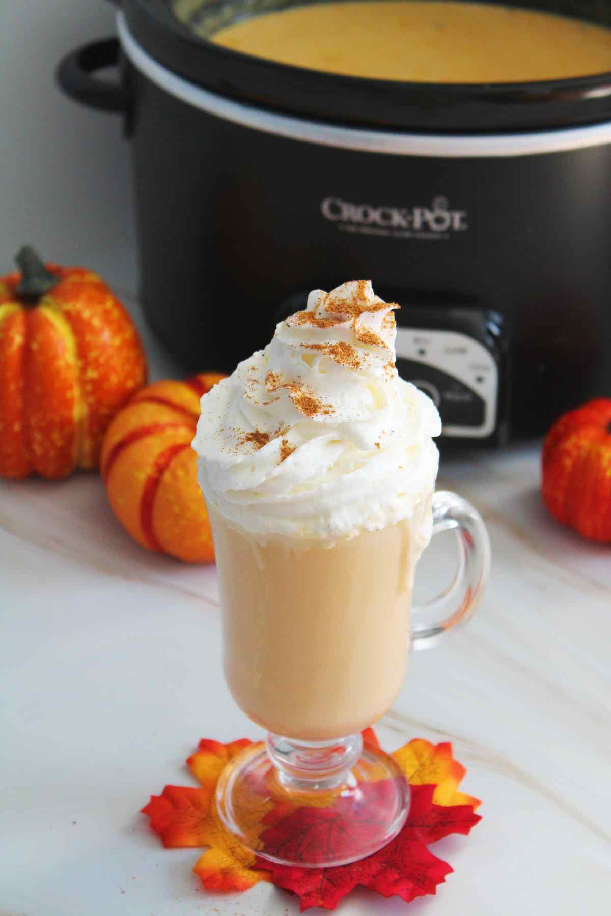 Slow cooker pumpkin spice white hot chocolate is best topped with whipped cream.